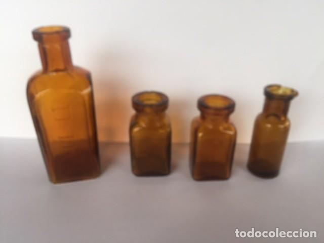 Antigüedades: Conjunto antiguas pequeñas botellas farmacia color ambar - Foto 5 - 111882387