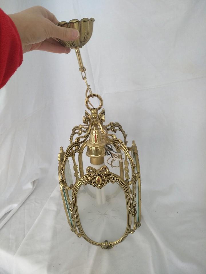 Antigüedades: LAMPARA FAROL MEDIANO EN BRONCE CON CRISTALES TALLADOS. COMPLETO, FUNCIONA - Foto 2 - 111900023