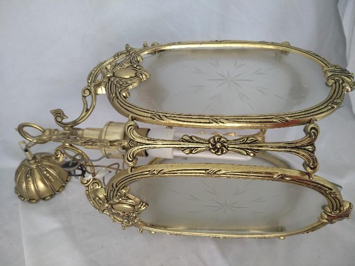 Antigüedades: LAMPARA FAROL MEDIANO EN BRONCE CON CRISTALES TALLADOS. COMPLETO, FUNCIONA - Foto 3 - 111900023