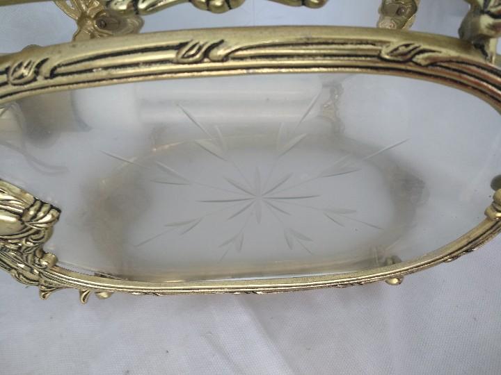 Antigüedades: LAMPARA FAROL MEDIANO EN BRONCE CON CRISTALES TALLADOS. COMPLETO, FUNCIONA - Foto 4 - 111900023