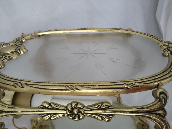 Antigüedades: LAMPARA FAROL MEDIANO EN BRONCE CON CRISTALES TALLADOS. COMPLETO, FUNCIONA - Foto 5 - 111900023