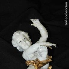 Antigüedades: AUTÉNTICA PORCELANA ALGORA DOCUMENTADA. ANGELOTE PARED PEQUEÑO. POCO FRECUENTE EN PERFECTO ESTADO.. Lote 111903671