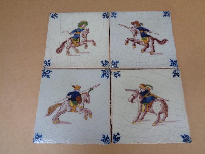 PANEL CUATRO AZULEJOS DELFT.SIGLO XVIII-XIX (Antigüedades - Porcelana y Cerámica - Holandesa - Delft)