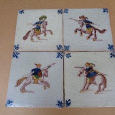Antigüedades: PANEL CUATRO AZULEJOS DELFT.SIGLO XVIII-XIX. Lote 36085169