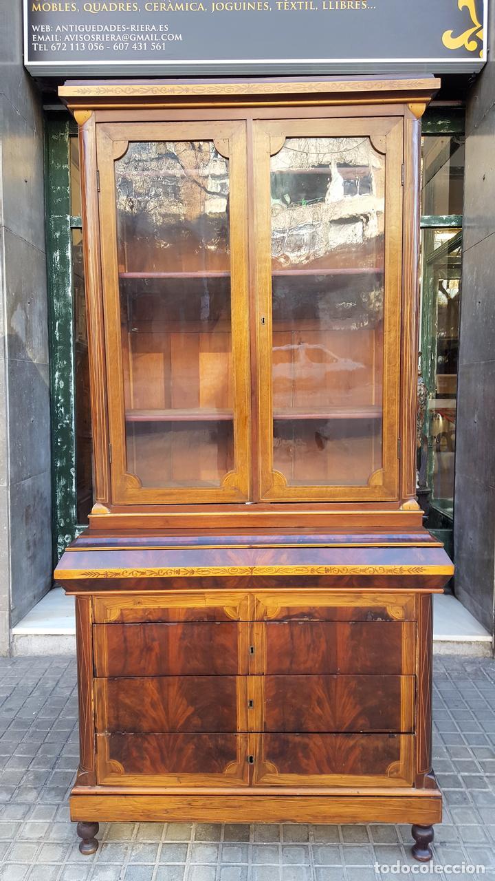 VITRINA. MARQUETERÍA DE MADERA. ESPAÑA. SIGLO XIX. (Antigüedades - Muebles Antiguos - Vitrinas Antiguos)