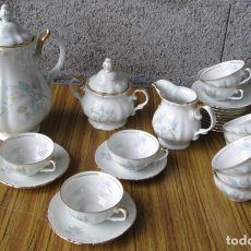 Antigüedades: JUEGO DE CAFÉ DE PORCELANA PINTADO AL ORO // SANTA CLARA VIGO MAH ESPAÑA. Lote 112006203