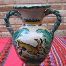 Antigüedades: JARRA EN CERAMICA PINTADA Y VIDRIADA DE PUENTE DEL ARZOBISPO ( TOLEDO ). Lote 153813266
