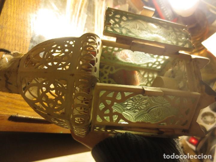 Antigüedades: FAROL DE HIERRO Y CRISTALES VISELADOS PARA VELA 22 CMS - Foto 3 - 112122847