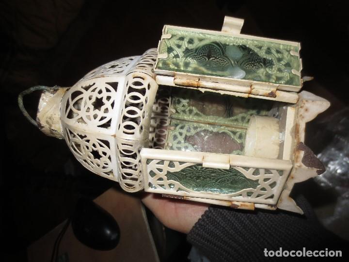 Antigüedades: FAROL DE HIERRO Y CRISTALES VISELADOS PARA VELA 22 CMS - Foto 6 - 112122847