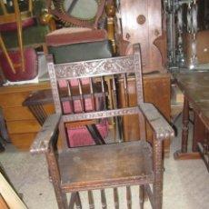 Antigüedades: SILLON DE MADERA CASTELLANO ALTURA 110 CM. 64 ANCHO FONDO 54 CM.. Lote 112128527