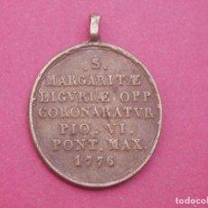 Antigüedades: MEDALLA SIGLO XVIII SAN MARIA DE ROSA. SANTA MARGHERITA LIGURE. AÑO 1776. ITALIA.. Lote 112175659