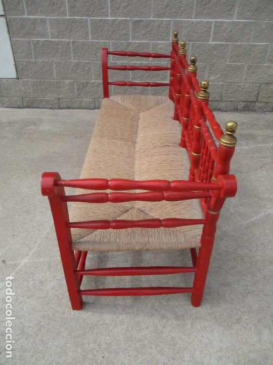 Antigüedades: Antiguo Canape - Sofa - Banco - Madera Torneada y Policromada - Tapizado en Enea - Perfecto - S. XIX - Foto 14 - 112221175
