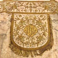 Antigüedades: CAPA PLUVIAL BORDADA EN ORO, BORDADO EN ORO, SEMANA SANTA, BORDADO, SAYA, MANTO, DOLOROSA, IGLESIA. Lote 109255218