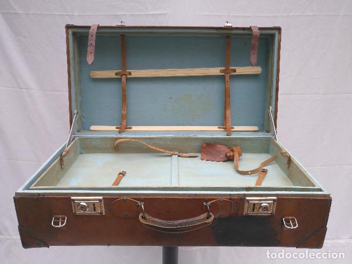 Antigüedades: MALETA DE CUERO ANTIGÜA - Foto 5 - 112234547