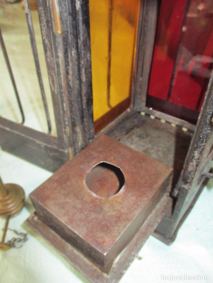 Antigüedades: IMPRESIONANTE Y RARO FAROL FERROCARRIL O LOCOMOCCIÓN ,HIERRO BRONCE COBRE PIEZA DE MUSEO 350,00 € - Foto 4 - 112245195