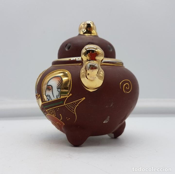 Antigüedades: Incensario antiguo Japonés en porcelana NAKASIMA tipo Satsuma, policromado con detalles en oro 18k . - Foto 2 - 112252187