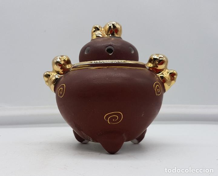 Antigüedades: Incensario antiguo Japonés en porcelana NAKASIMA tipo Satsuma, policromado con detalles en oro 18k . - Foto 3 - 112252187