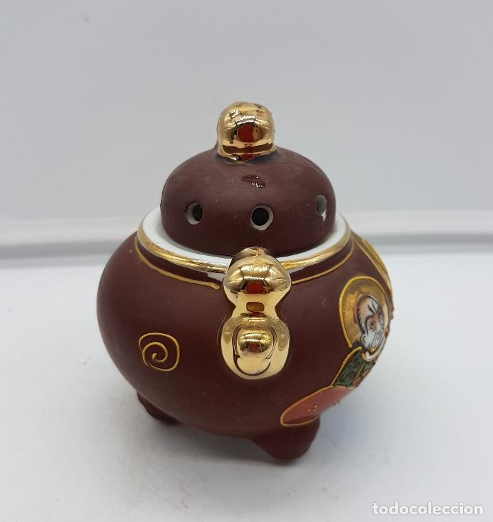 Antigüedades: Incensario antiguo Japonés en porcelana NAKASIMA tipo Satsuma, policromado con detalles en oro 18k . - Foto 4 - 112252187