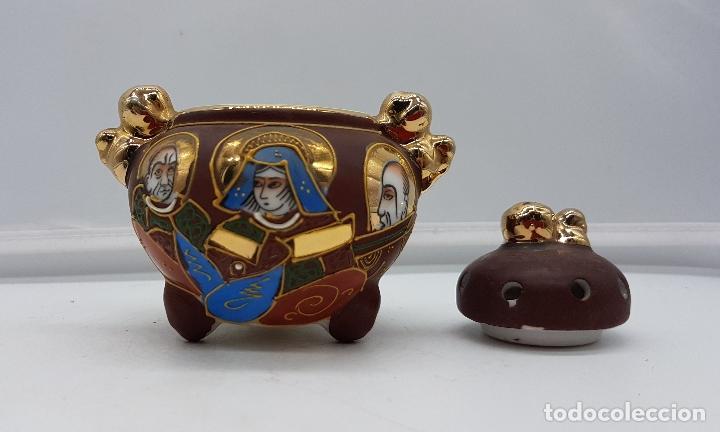 Antigüedades: Incensario antiguo Japonés en porcelana NAKASIMA tipo Satsuma, policromado con detalles en oro 18k . - Foto 5 - 112252187