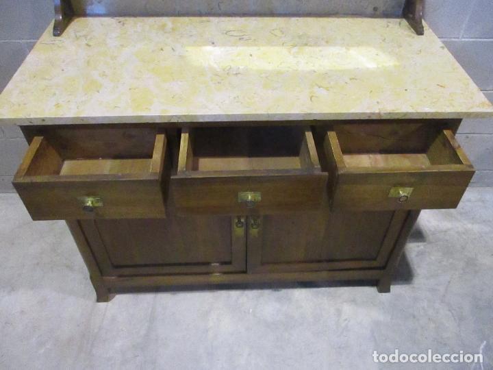 Antigüedades: Antiguo Tocador Modernista - Madera Nogal - Espejo Plateado - Mármol - Principios S. XX - Foto 8 - 112253747