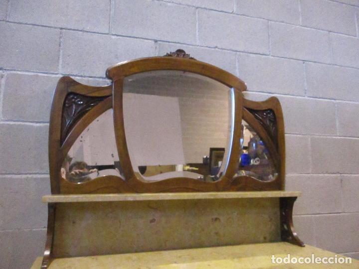 Antigüedades: Antiguo Tocador Modernista - Madera Nogal - Espejo Plateado - Mármol - Principios S. XX - Foto 11 - 112253747