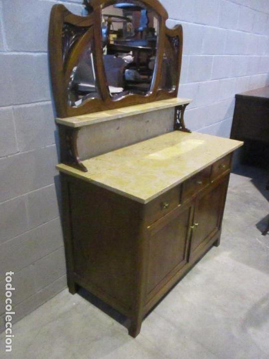 Antigüedades: Antiguo Tocador Modernista - Madera Nogal - Espejo Plateado - Mármol - Principios S. XX - Foto 16 - 112253747
