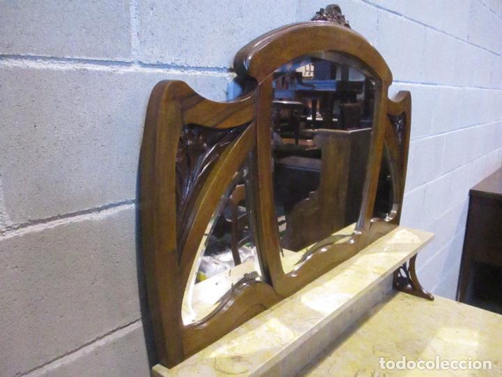 Antigüedades: Antiguo Tocador Modernista - Madera Nogal - Espejo Plateado - Mármol - Principios S. XX - Foto 19 - 112253747
