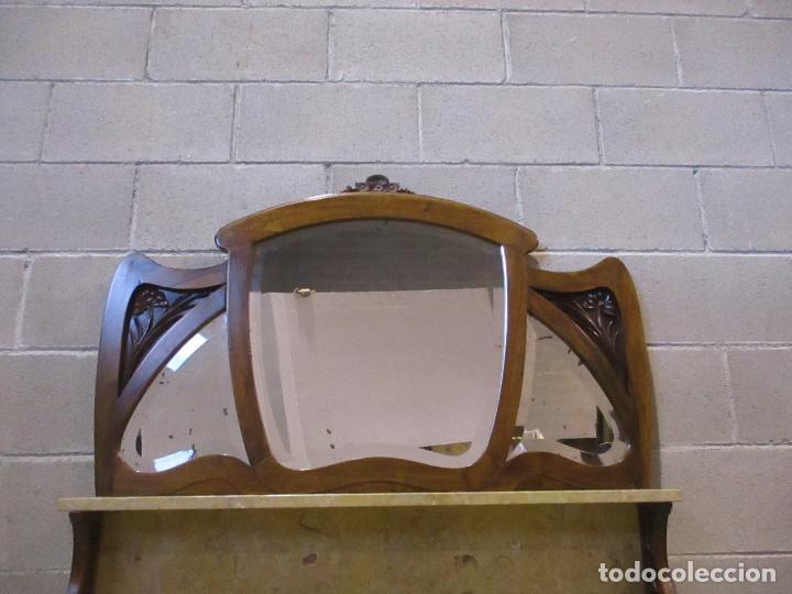 Antigüedades: Antiguo Tocador Modernista - Madera Nogal - Espejo Plateado - Mármol - Principios S. XX - Foto 23 - 112253747