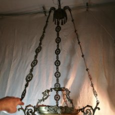 Antigüedades: IMPORTANTE LAMPARA VOTIVA SIGLO XVIII BRONCE-----VER FOTOS !!! ESTRELLA 5 PUNTAS SIMBOLOGIA. Lote 112268731