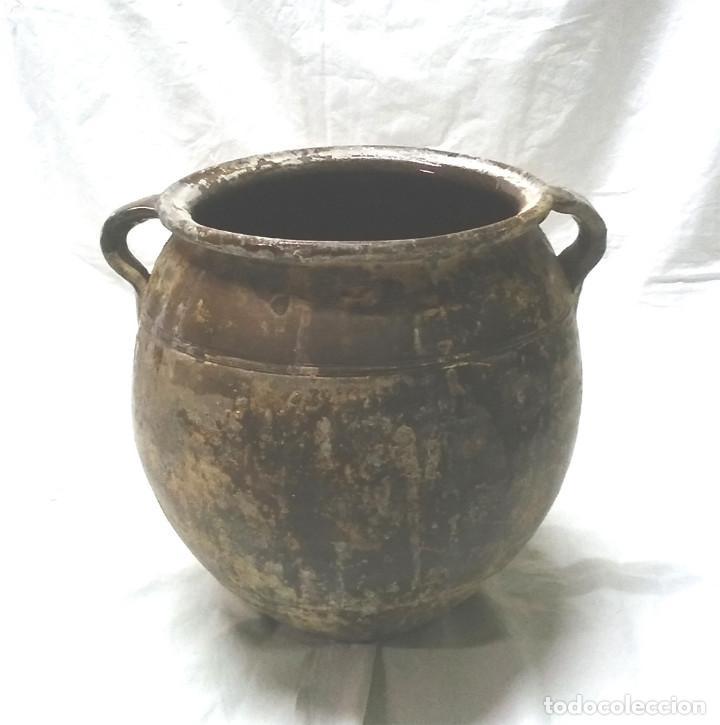 ORZA OLLA OREJERA PARA SALAR DE SANT JULIÀ DE VILATORTA S XIX, TERRACOTA VIDRIADA. MED. 33 X 35 CM (Antigüedades - Porcelanas y Cerámicas - Catalana)