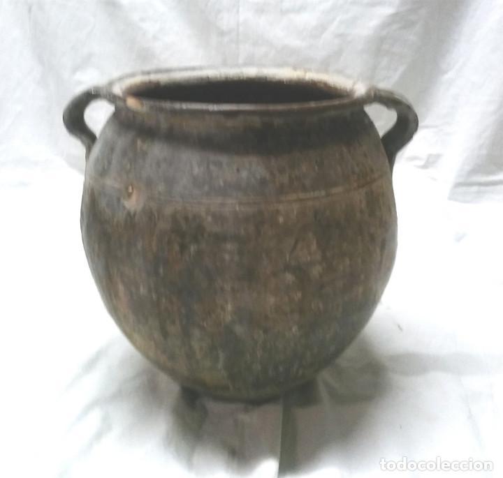 Antigüedades: Orza Olla orejera para salar de Sant Julià de Vilatorta S XIX, terracota vidriada. Med. 33 x 35 cm - Foto 2 - 112274155