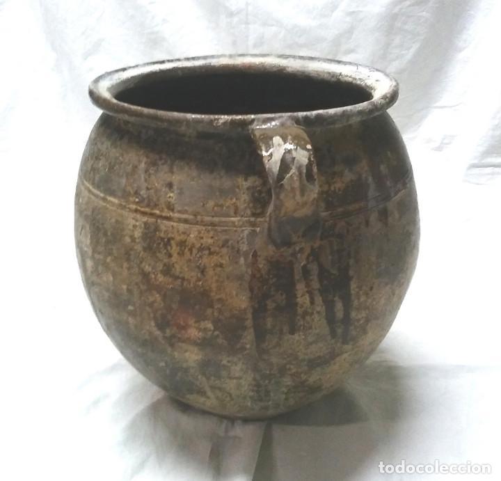 Antigüedades: Orza Olla orejera para salar de Sant Julià de Vilatorta S XIX, terracota vidriada. Med. 33 x 35 cm - Foto 4 - 112274155