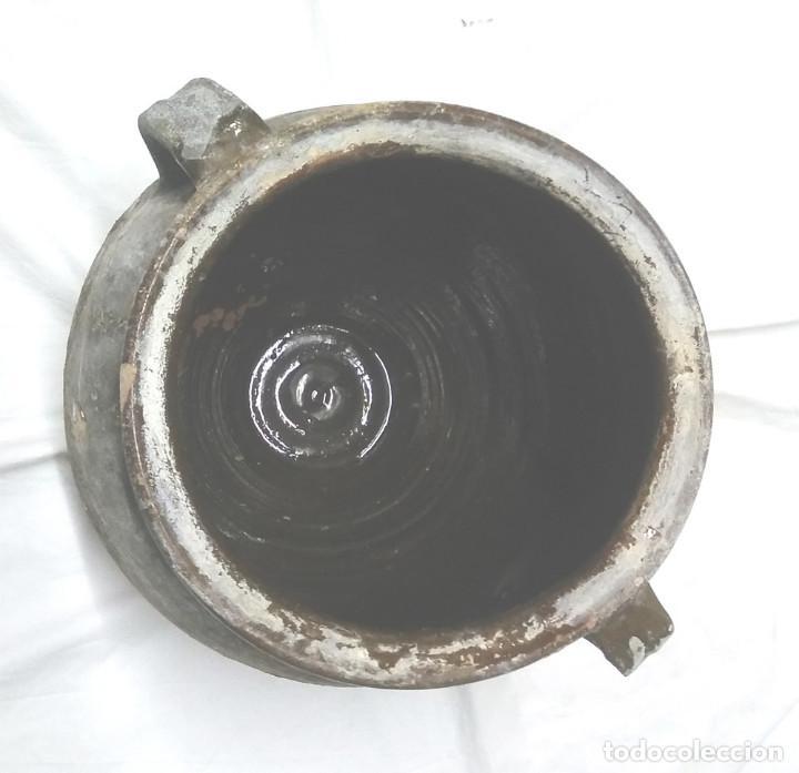 Antigüedades: Orza Olla orejera para salar de Sant Julià de Vilatorta S XIX, terracota vidriada. Med. 33 x 35 cm - Foto 5 - 112274155