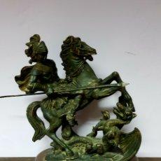 Antigüedades: FIGURA DE SANT JORDI / SAN JORGE Y EL DRAGON - CON ACABADO COBRE, 26CM. Lote 112315206
