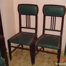 Antigüedades: SILLA DE CAOBA CON TAPICERÍA EN VERDE OSCURO.. Lote 112327135