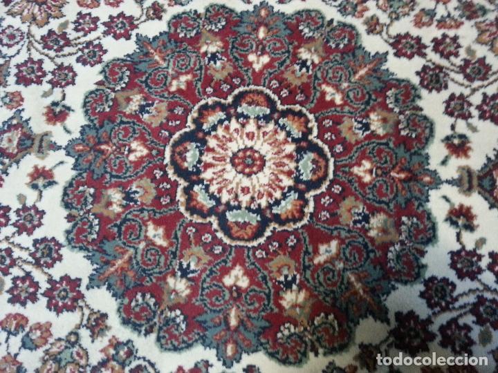 Antigüedades: gran alfombra imperial - 240x172 cm + flecos - lana tejida a mano para cultos de virgen semana santa - Foto 2 - 112331007
