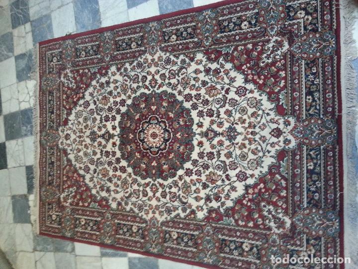 Antigüedades: gran alfombra imperial - 240x172 cm + flecos - lana tejida a mano para cultos de virgen semana santa - Foto 6 - 112331007
