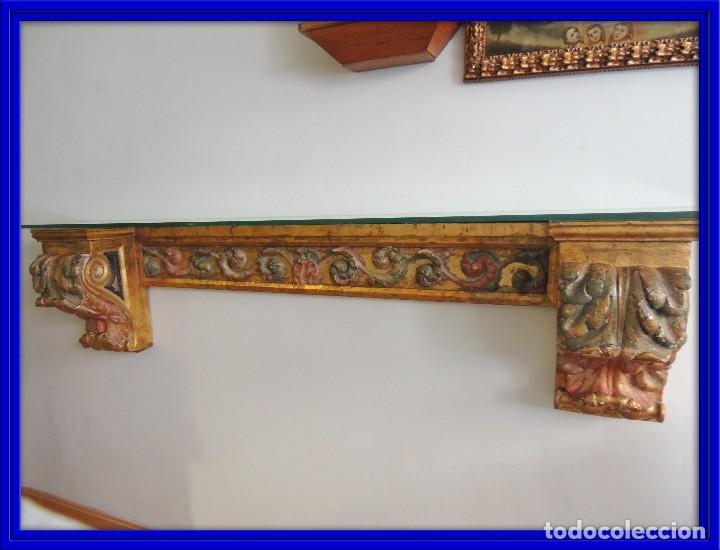 MAGNIFICA CONSOLA CON MENSULAS SIGLO XVII (Antigüedades - Muebles Antiguos - Consolas Antiguas)