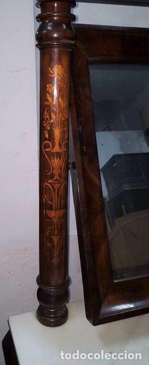 Antigüedades: CONJUNTO DE CONSOLA Y ESPEJO ESTILO FERNANDINA. CAOBA CON LIMONCILLO. ESPAÑA. SIGLO XIX. - Foto 5 - 112335067