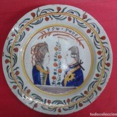 Antigüedades: PLATO DE CERAMICA HOLANDESA SIGLO XVIII CON LOS BUSTOS DE GUILLERMO V Y SU ESPOSA. Lote 112335815
