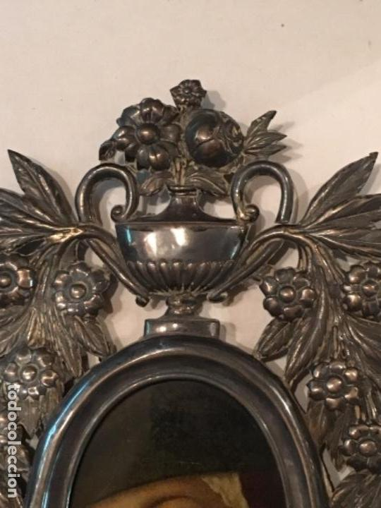 Antigüedades: BENDITERA DE PLATA S.XVIII CON UNA IMAGEN DE UNA VIRGEN DE CRISTAL PINTADO - Foto 4 - 112337579