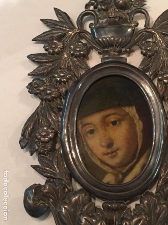 Antigüedades: BENDITERA DE PLATA S.XVIII CON UNA IMAGEN DE UNA VIRGEN DE CRISTAL PINTADO - Foto 5 - 112337579