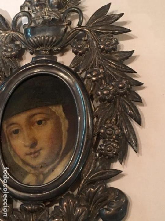 Antigüedades: BENDITERA DE PLATA S.XVIII CON UNA IMAGEN DE UNA VIRGEN DE CRISTAL PINTADO - Foto 6 - 112337579