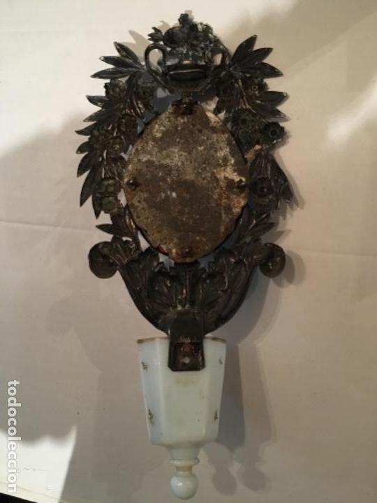 Antigüedades: BENDITERA DE PLATA S.XVIII CON UNA IMAGEN DE UNA VIRGEN DE CRISTAL PINTADO - Foto 8 - 112337579