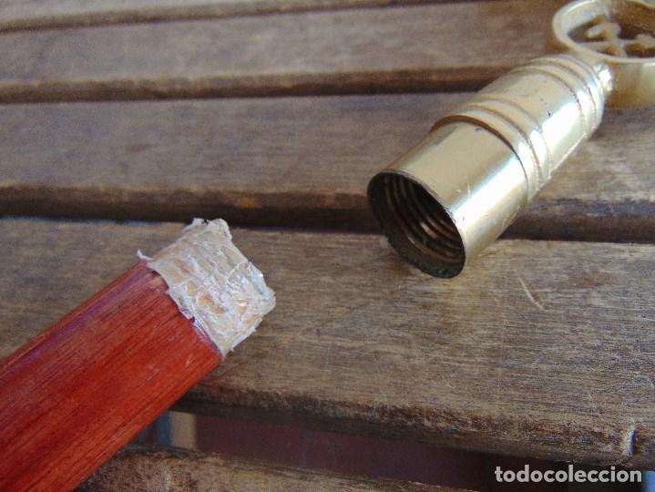 Antigüedades: BASTON MINERO DESMONTABLE EN TRES PARTES PUÑO DE LATON O BRONCE . - Foto 9 - 112374491