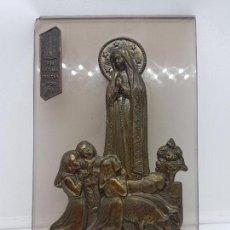 Antigüedades: BONITA IMAGEN ANTIGUA DE LA VIRGEN DE FÁTIMA EN METAL Y CRISTAL.. Lote 112399499
