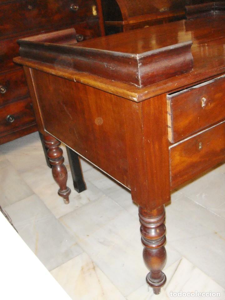 Antigüedades: Magnifica mesa de despacho antigua. S.XIX. Caoba maciza. Con cajones. - Foto 6 - 112420159