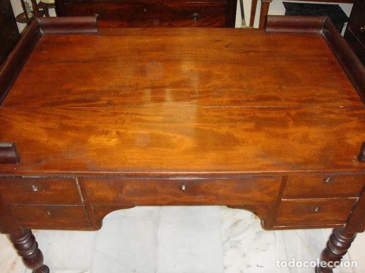 Antigüedades: Magnifica mesa de despacho antigua. S.XIX. Caoba maciza. Con cajones. - Foto 8 - 112420159