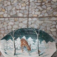 Antigüedades: BANDEJA PORCELANA CON CERVATILLO. Lote 112423707