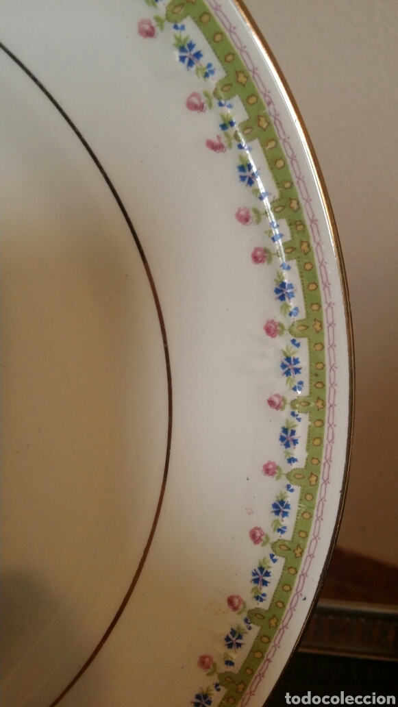 Antigüedades: 12 platos elegantes vintage porcelana Cartuja Sevilla Pickman antiguos - Foto 3 - 112425962